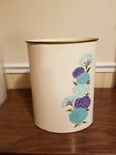 Vintage Ransburg Metal Waste Paper Basket Trash Can~ hand painted flower