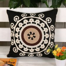 2 Piece Black White Embroidered Canvas Pillow Cushion Covers 17.7 x 17.7 ""
