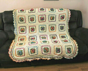 """HAND-CROCHETED SPRING FLORAL AFHAN THROW BLANKET-MULTI-COLORED-56""""X66""""-NEW"""