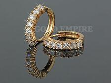 Luxus Ohrringe, Creolen gold, Zirkonia weiß 750er Gold 18K vergoldet 1278