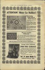 1911 PAPER AD Car Auto Automobile Belt Driven Spacke Air Compressor Garage