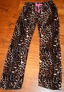 Women's Tarea Rue 21 Brown Leopard Plush Slip On Sleep Lounge Pants Sizes S-XL
