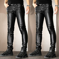 Mens Punk Motorcycle Leather Leisure Trousers Skinny Slim Fit Casual Jeans Pants