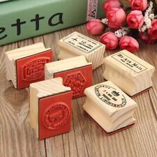 6Pcs Vintage Wooden Rubber Stamps Set Scrapbooking Decorating Postcard Craft New