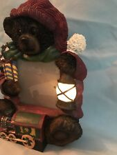 💡Brown Bear Photo Frame Train Gift Lantern Lighted New In Box Christmas Holiday