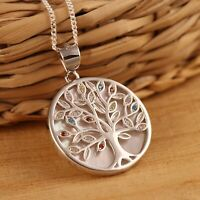 Solid 925 Sterling Silver Tree of Life Mother of Pearl Pendant Necklace Gift Box