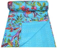 Indian Floral Hand Bird Print Kantha Quilt Twin Turquoise Bedspread Throw Quilt