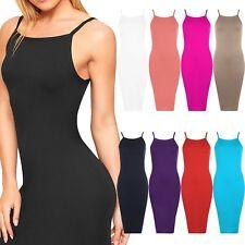 Ladies Cami Strappy High Square Neck Midi Bodycon Dress Sleeveless Plain Stretch