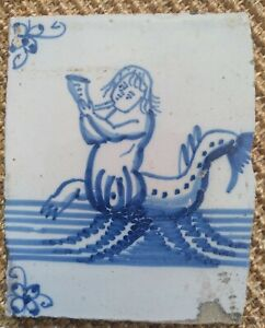 ANTIQUE 18C DUTCH DELFT TILE BLUE AND WHITE FEATURING A SEA MONSTER