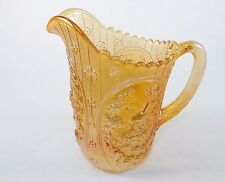 Vintage Glass Water Pitcher ~ Marigold, Windmill Pattern, Imperial Glass, Signed