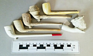 Vintage Group of  6 English Clay pipes with nice designs most unused