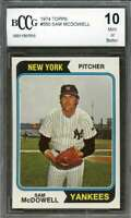 Sam Mcdowell Card 1974 Topps #550 New York Yankees BGS BCCG 10