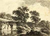 J.KLENGEL-Umkreis(19.Jh), Flusslandschaft mit Fuhrwerk, Radierung