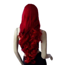 Fashion Heat Resistant Long Dark W Red Curly Cosplay Women's Full Hair Wigs