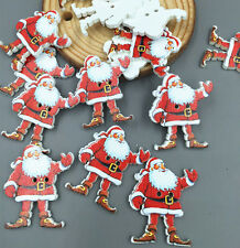 40pcs DIY Christmas Craft Santa Claus Wooden Buttons Sewing Scrapbooking 35mm