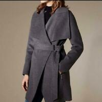 NEW Karen Millen Belted Waist Grey Wool Blend Coat Size 8