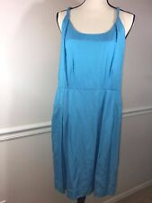BANANA REPUBLIC SIZE 14 PETITE COTTON SILK BLEND SLEEVELESS DRESS LINED BLUE