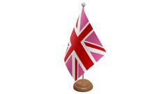 Union Jack Rosa da tavolo Bandiera con di legno supporto