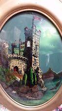 "Antique Eglomise Reverse Painting Frame w/ Convex Glass ""Castle in Belgium"" 1907"