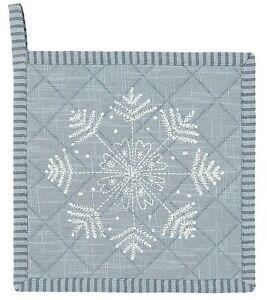 Clayre & Eef Topflappen Winter Wishes Baumwolle  20 x 20 cm Schneeflocke Schnee