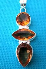 """925 Sterling Silver 22"""" O Ring Chain With Natural Golden Citrine   (nk1310)"""