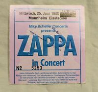 Original Eintrittskarte ZAPPA in Concert Mittwoch, 25. Juni 1980 Mannheim