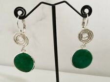 Silver Turkish Ottoman Green Jade Stone Disc Circle Gemstone Swirl Drop Earrings