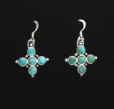 END OF LINE. STERLING SILVER DROP EARRING SET WITH TURQUOISE CABACHONS. SUMMERY!