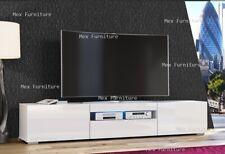 NEW  200cm TV Unit Cabinet TV Stand - Matt Body & High Gloss Doors LED Light