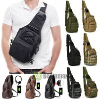 Men Backpack Molle Tactical Sling Chest Pack Shoulder Bag Outdoor Hiking Handbag