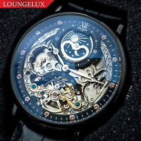 Mens Dual Time Flywheel Skeleton Automatic Mechanical Watch Black Leather Band
