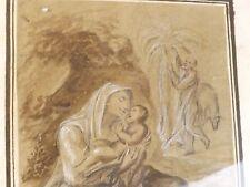 Etude, Dessin du XVIIe/ XVIIIe siècle. Mère, Vierge à l'Enfant. Tampon d'Atelier
