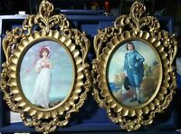 """Vintage Oval Convex Dome Glass """"Blue Boy"""" Picture Frame Ornate Pair Italy"""