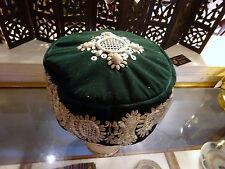 Vintage Zari work Zardosi Embroidery Silver Thread Velvet Hat India Ethnic Boho