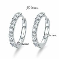 18K YELLOW WHITE GOLD GF HUGGIE CLEAR CRYSTAL EARRINGS