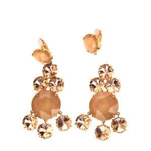 RRP €215 TORY BURCH Chandelier Earrings Rhinestones Embellished Clip On Closure