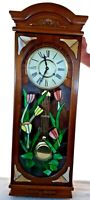 "Antique 70's 37"" Pendulum Clock Chime Wood Tiffany Style Stained Glass Front Key"