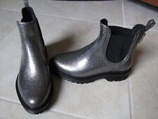 New Michael Kors Tipton Pull On Rain Boots WOMENS sz 6 Gunmetal Silver Glitter