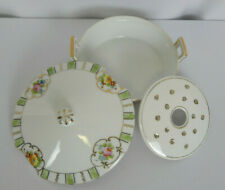 Flower Display With Lid & Frog Pink Floral Green Gold Trim Hand Painted Nippon