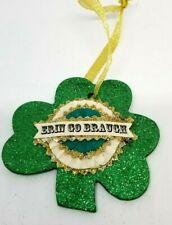 Green Glitter Shamrock Ornament Erin Go Braugh St Patrick's Day Paper Rosette