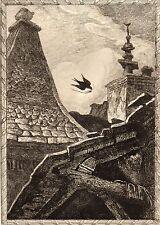 EAU FORTE / Fables de la Fontaine 1883 / L'ARAIGNNE ET L'HIRONDELLE