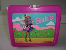 Vintage Barbie Pink Plastic Thermos Lunch Box 1990