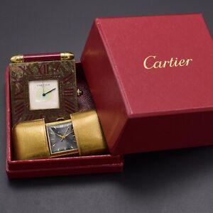 Vintage ENDURA 17J Mechanical & CARTIER Quartz Travel Clocks + Box