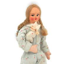 1930's Italian Cloth Doll Girl in Pajamas w/ Stuffed Rabbit Toy All Original