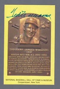 Ted Williams Signed Hall of Fame Yellow Plaque with JSA LOA