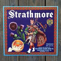 Vintage Original STRATHMORE ORANGE CITRUS Crate Box Label Scottish NOS Unused