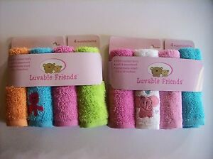 """Luvable Friends Washcloth 4 Pack Boys Girls Size 10x10"""" Select Octopus Eleph NIP"""