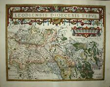 1603 Ortelius Map Bishopric Of Liege Huge Flamboyant Cartouche, Very Decorative!