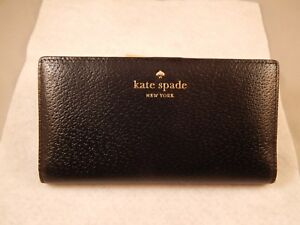 Womens Kate Spade Black Leather Wallet - Grand Street Stacy