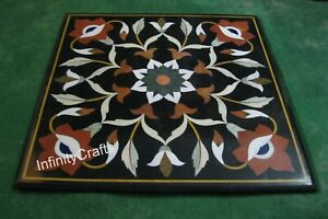 Marquetry Art Marble Coffee Table Top Black Square Sofa Table Size 24 Inches